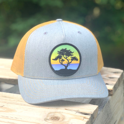 Curved-Brim Trucker (Grey/Gold) with Cypress Patch