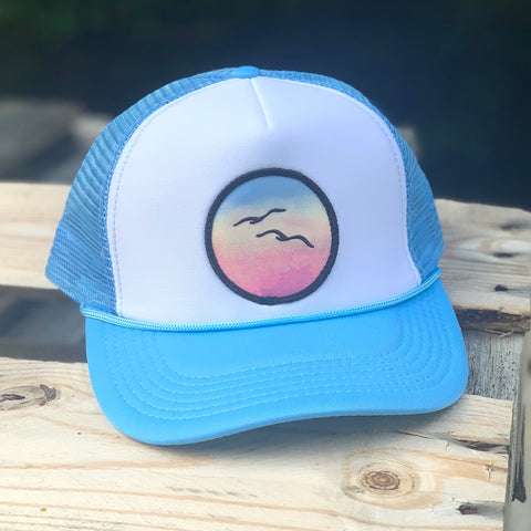 Curved-Brim Foam Trucker (Sky/White) with Birds Patch