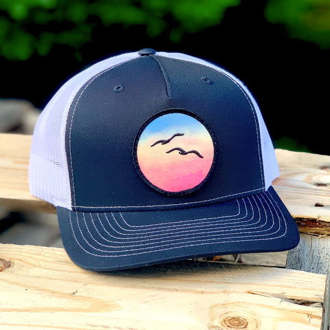Curved-Brim Trucker (Black/White) with Birds Patch