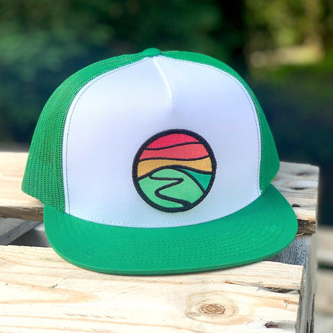 Flat-Brim Trucker (White/Green) with Hilltop Patch