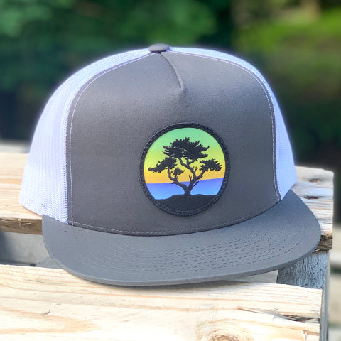 Flat-Brim Trucker (Grey/White) with Cypress Patch