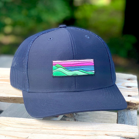 Curved-Brim Trucker (Navy) with Ridgecrest Patch
