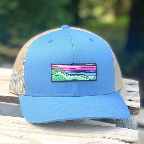 Curved-Brim Trucker (Ocean/Sand) with Ridgecrest Patch