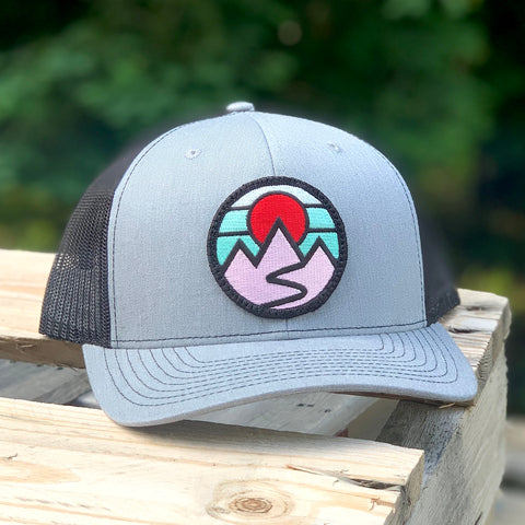 Curved-Brim Trucker (Grey/Black) with Mountains Patch
