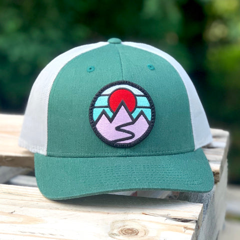 Curved-Brim Trucker (Green/Grey) with Mountains Patch