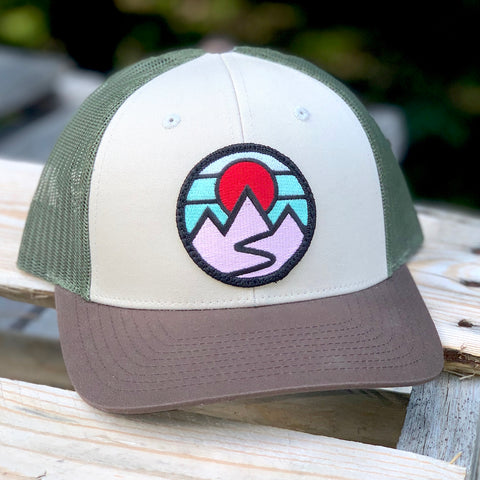 Curved-Brim Trucker (Tan/Green/Brown) with Mountains Patch