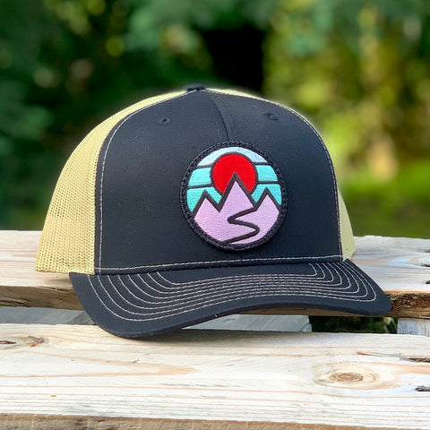 Curved-Brim Trucker (Black/Gold) with Mountains Patch