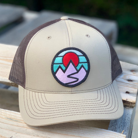 Curved-Brim Trucker (Tan/Brown) with Mountains Patch