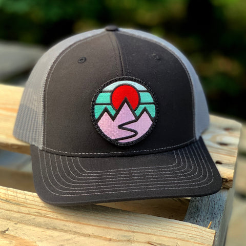 Curved-Brim Trucker (Black/Grey) with Mountains Patch