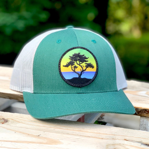 Curved-Brim Trucker (Green/Grey) with Cypress Patch