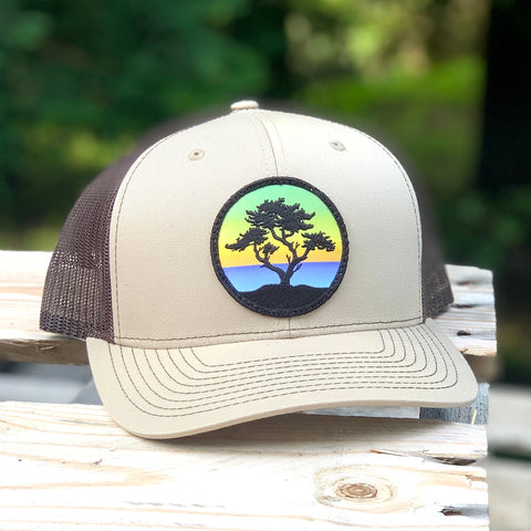 Curved-Brim Trucker (Tan/Brown) with Cypress Patch