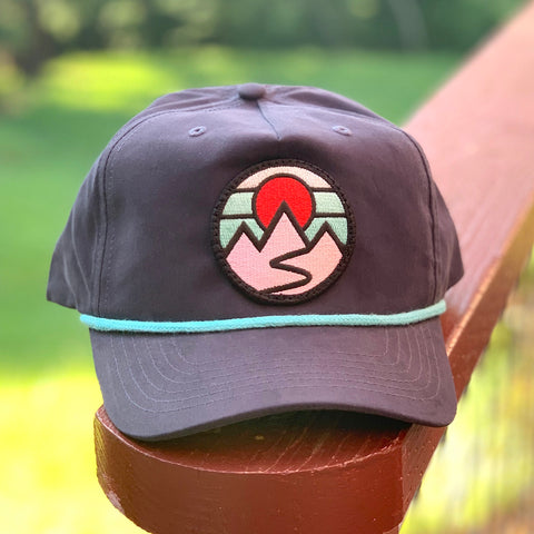 Classic Rope Hat (Navy/Teal) with Mountains Patch