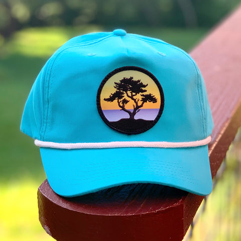 Classic Rope Hat (Teal/White) with Cypress Patch