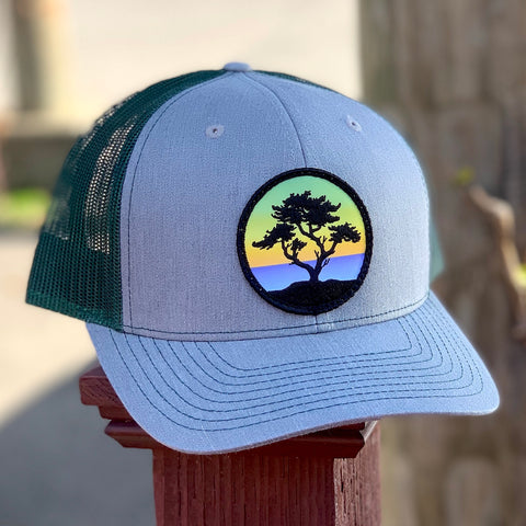 Curved-Brim Trucker (Grey/Green) with Cypress Patch