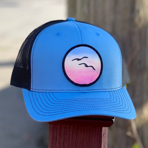 Curved-Brim Trucker (Ocean/Black) with Birds Patch