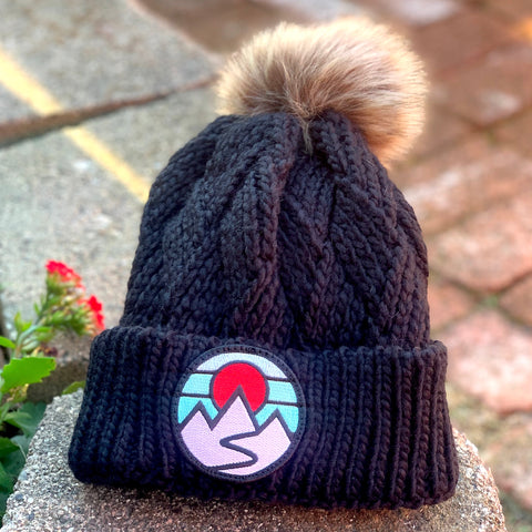 Faux-Fur Pom Beanie (Black) with Mountains Patch
