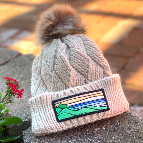 Faux-Fur Pom Beanie (Cream) with XL Ridgecrest Patch