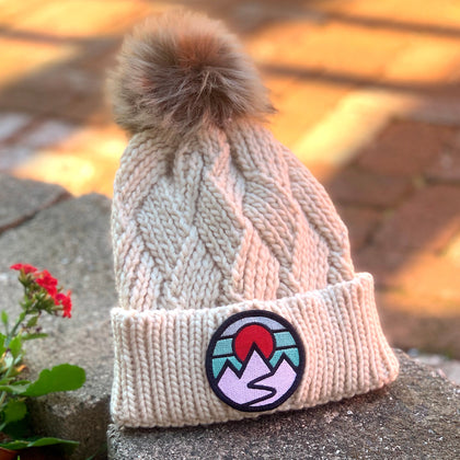 Faux-Fur Pom Beanie (Cream) with Mountains Patch