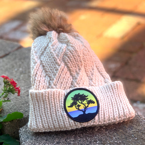 Faux-Fur Pom Beanie (Cream) with Cypress Patch