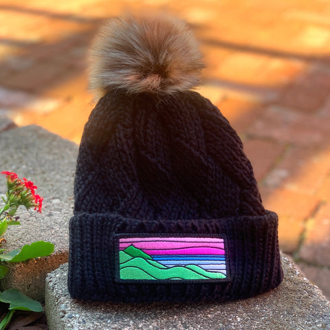 Faux-Fur Pom Beanie (Black) with XL Ridgecrest Patch