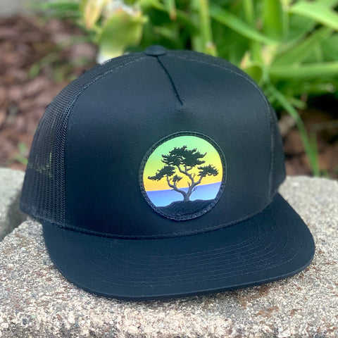 Flat-Brim Trucker (Black) with Cypress Patch