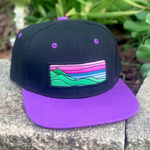 Flat-Brim Snapback (Black/Purple) with XL Ridgecrest Patch