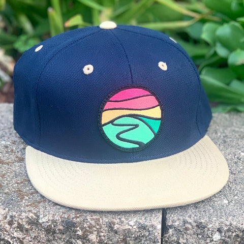 Flat-Brim Snapback (Navy/Tan) with Hilltop Patch