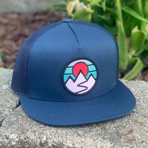 Flat-Brim Trucker (Navy) with Mountains Patch