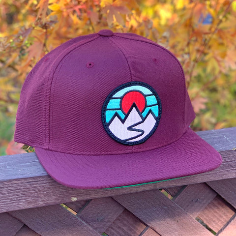 Flat-Brim Snapback (Maroon) with Mountains Patch