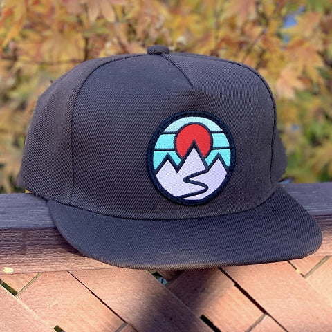 Flat-Brim Snapback (Brown) with Mountains Patch