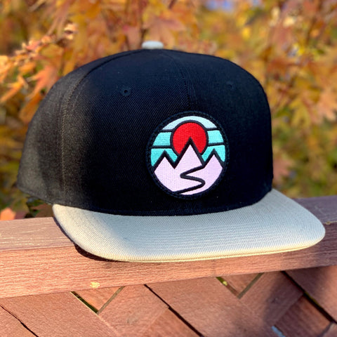 Flat-Brim Snapback (Black/Tan) with Mountains Patch