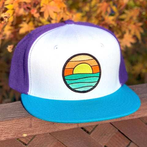Flat-Brim Snapback (White/Teal) with Serenity Patch