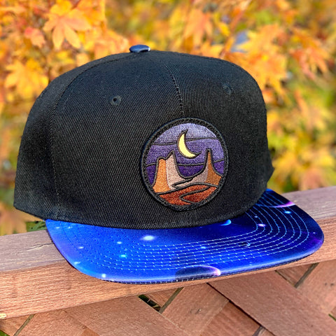 Special Edition Flat-Brim Snapback (Black/Cosmos) with Blackout Desert Patch
