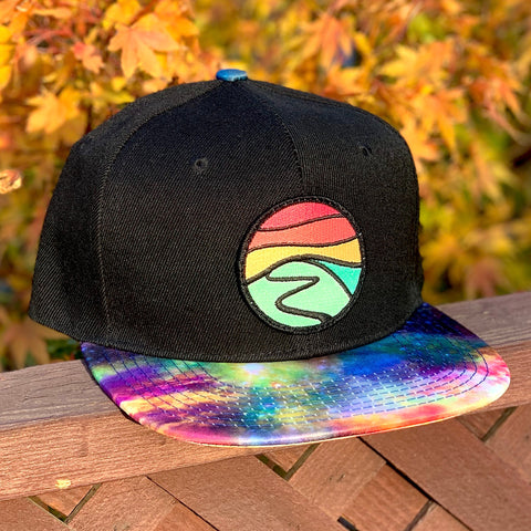 Special Edition Flat-Brim Snapback (Black/Rainbow) with Hilltop Patch