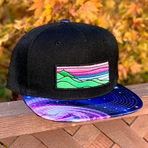 Special Edition Flat-Brim Snapback (Black/Cosmos) with XL Ridgecrest Patch