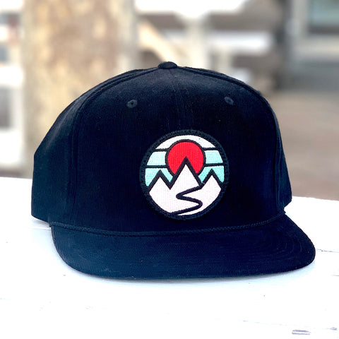 Corduroy Snapback (Black) with Mountains Patch