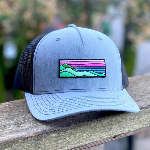 Curved-Brim Trucker (Grey/Black) with Ridgecrest Patch