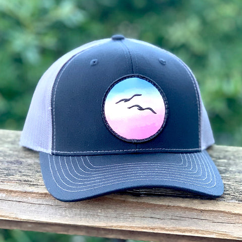 Curved-Brim Trucker (Black/Grey) with Birds Patch