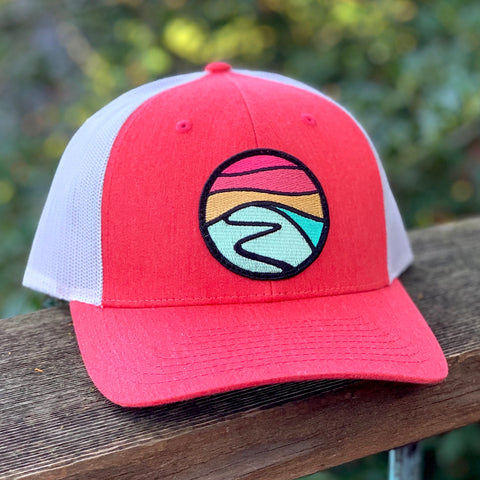 Curved-Brim Trucker (Rose/Grey) with Hilltop Patch