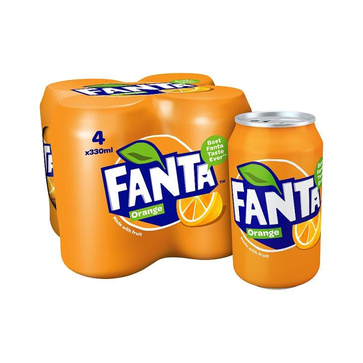 Fanta Orange Can 330mml 4-Pack