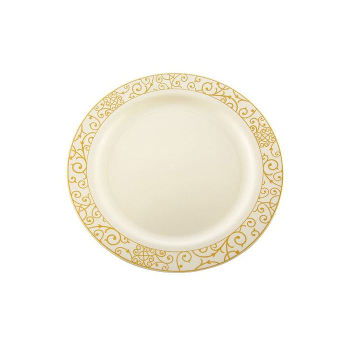 "7"" Luxi Plate - Gold Pattern Edge, pk 10"