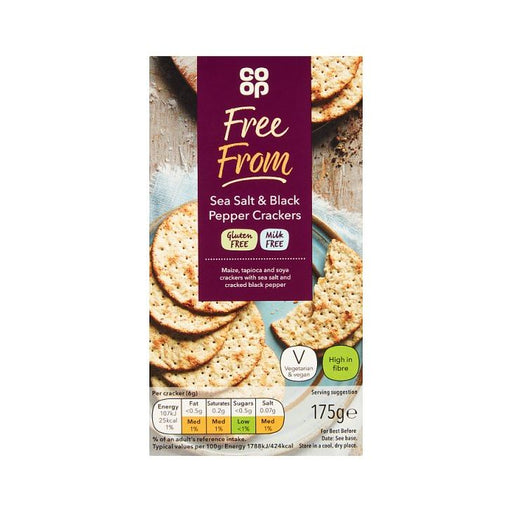 Co-op Free From Salt & Black Pepper Crackers 175g