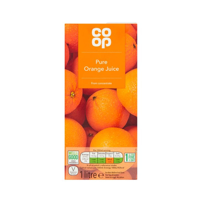 Co Op Pure Orange Juice 1ltr