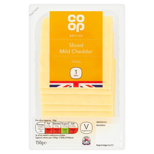 Co op Mild White Cheddar Cheese Slices 150g