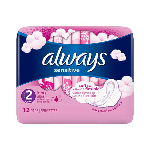 Always Sensitive Long Ultra Plus Sanitary Towels Pads + Wings 12-Pack
