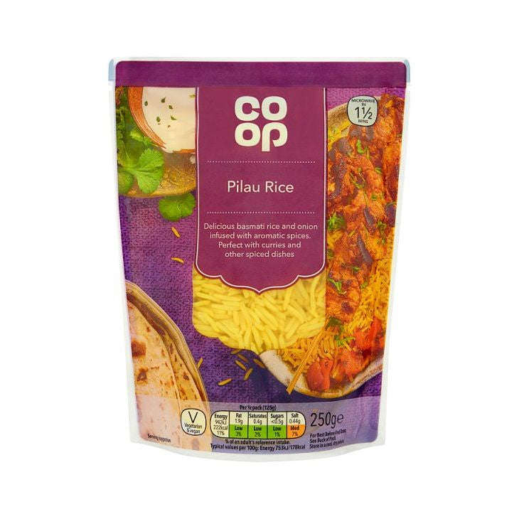 Co Op Pilau Microwave Rice 250g
