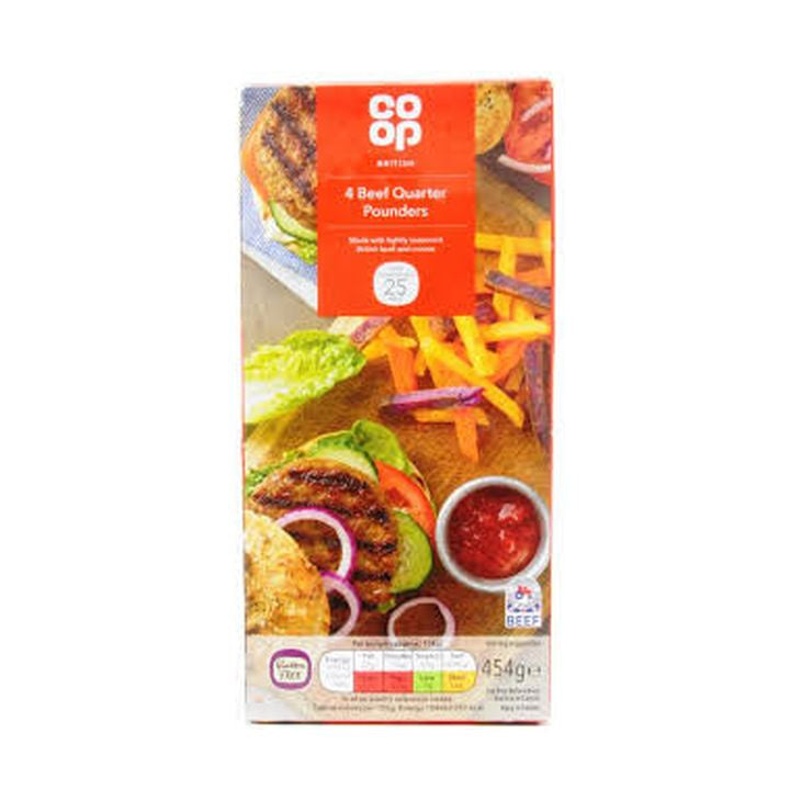 Co-op Quarter Pounder Beef Burger 454g