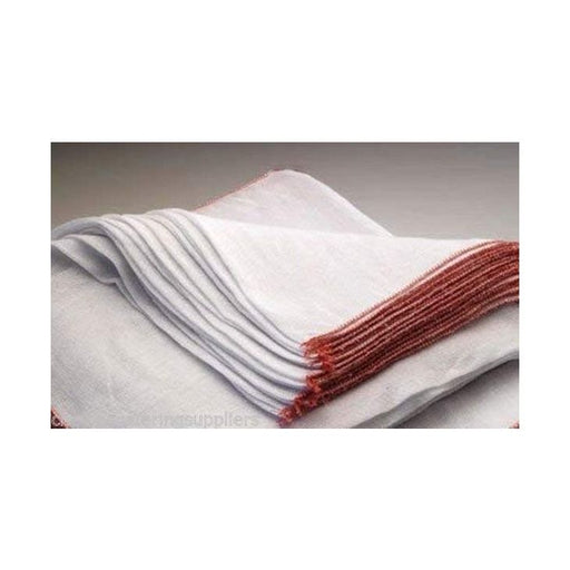 Large White Dishcloths with Red Edge