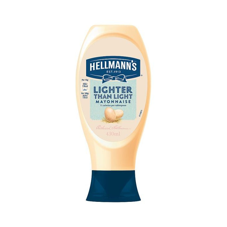 Hellmanns Lighter Than Light Squeezy Mayonnaise 430ml