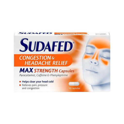 Sudafed Congestion & Headache Relief Max Strength Capsules (16)